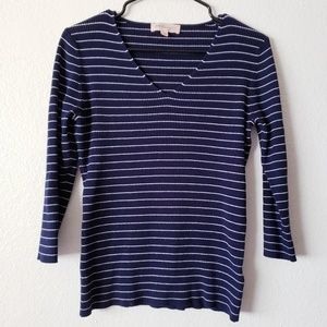 [2/$6] Striped Navy & White Ribbed Philosophy Top